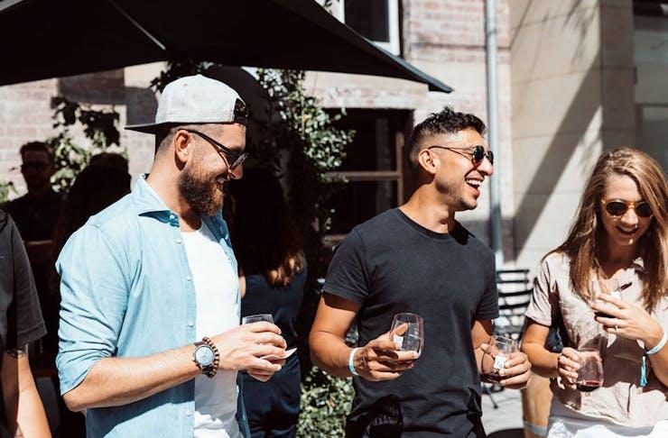 people enjoying the Urban Wine Walk