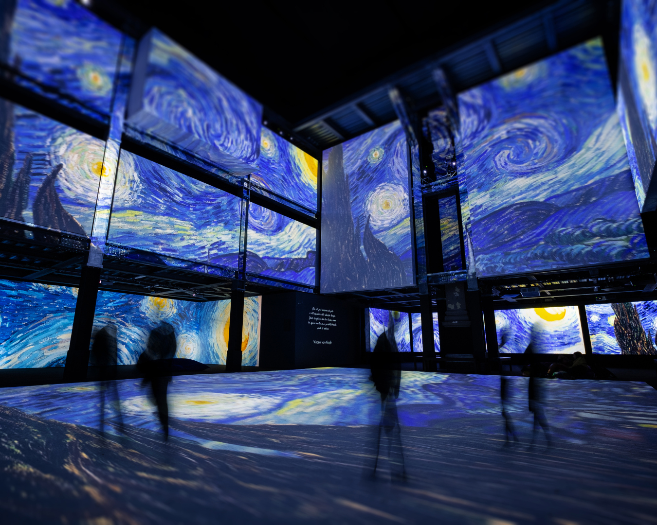 People take in an immersive art installation featuring Vincent Van Gogh's most famous works, including Starry Night