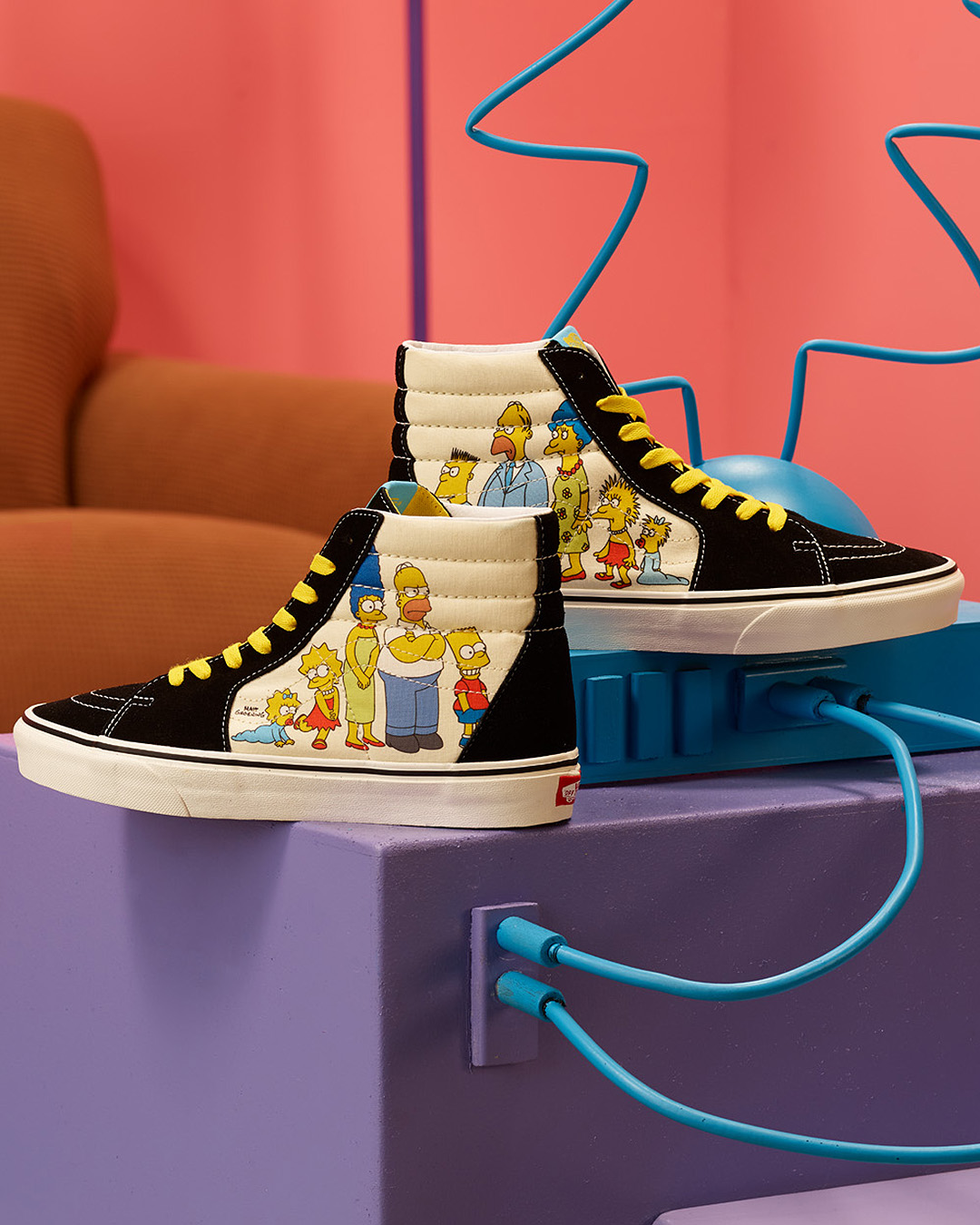 Sk8-Hi tops from Vans x Simpsons featuring old and new school Simpsons characters.