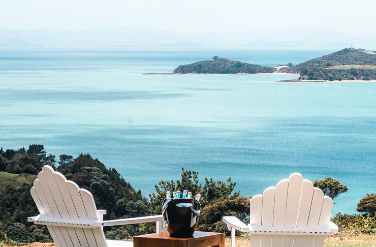 The view from the garden bar at Waiheke Distilling Co.