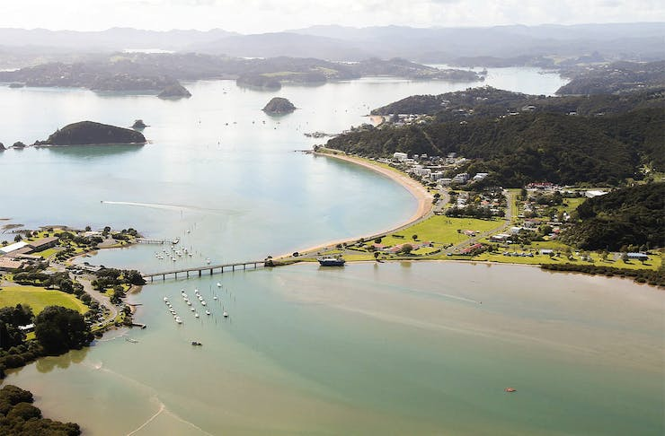 An aerial view of the Waitangi holiday park in the Bay Of Islands.