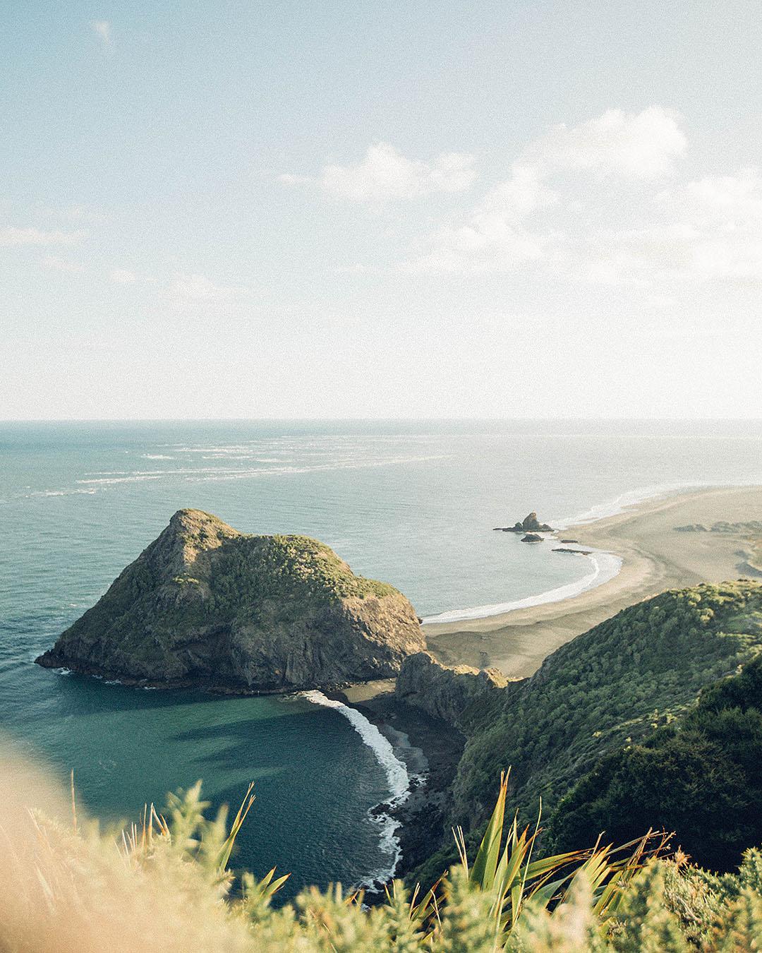 Whatipu beach seen from above.