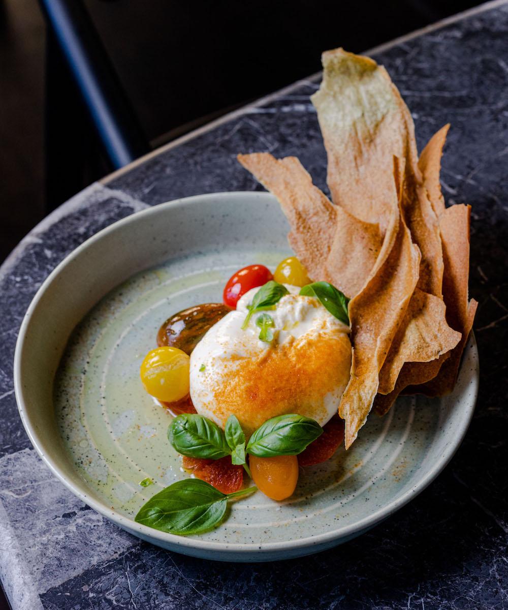 Burrata dish from a new Perth restaurant and bar