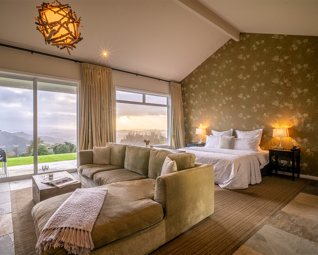 A sumptuous room at the Woodhouse Mountain Lodge, one of the best luxury hotels in New Zealand.