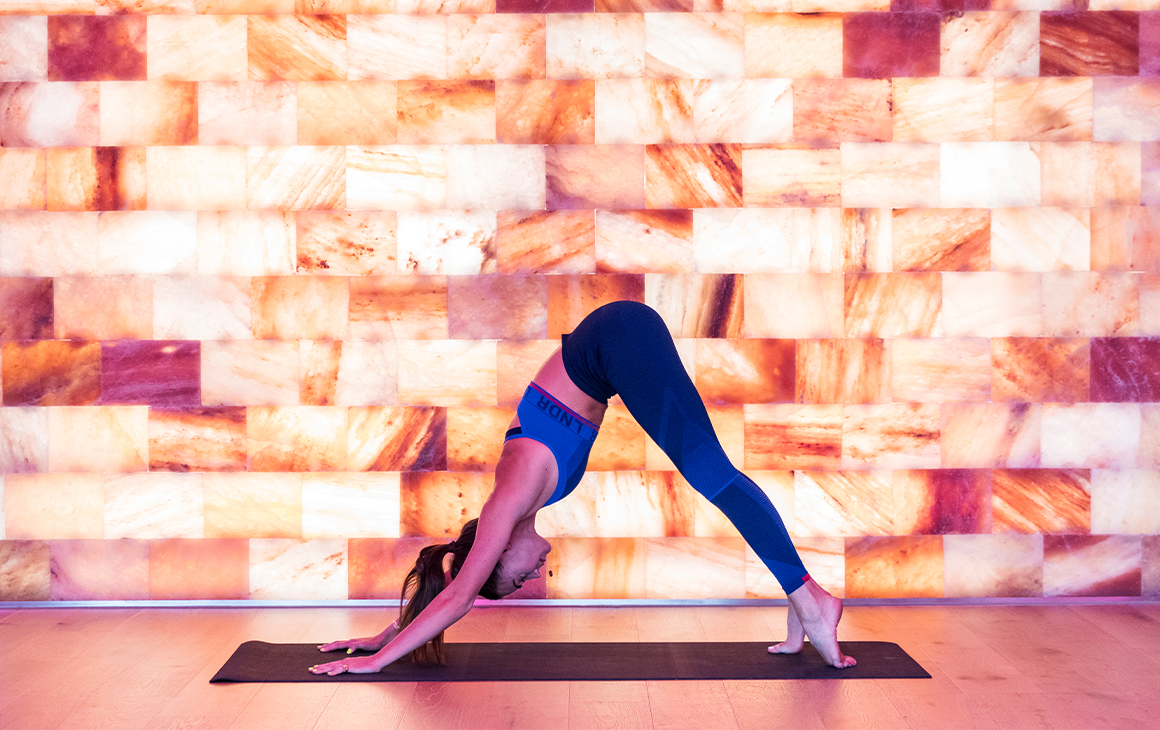 a lady in the downward dog yoga position