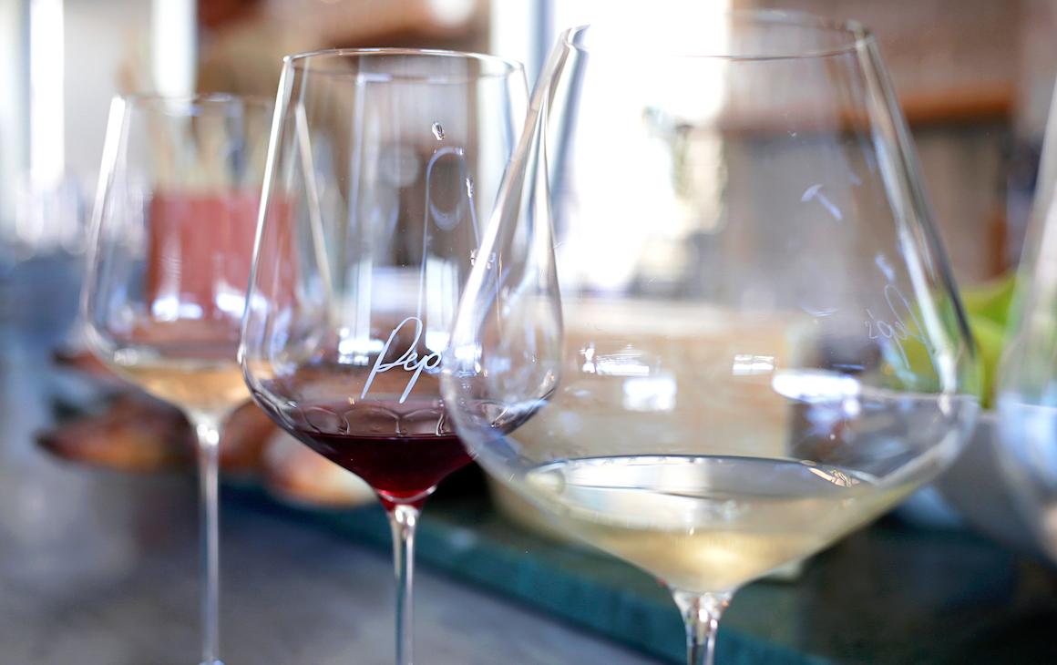 Three wine glasses at Pep's