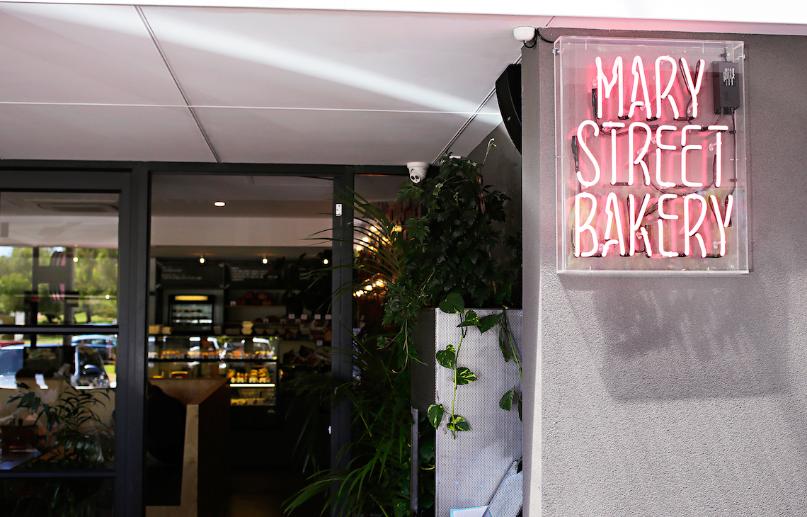 Mary Street bakery neon sign at the front of their store