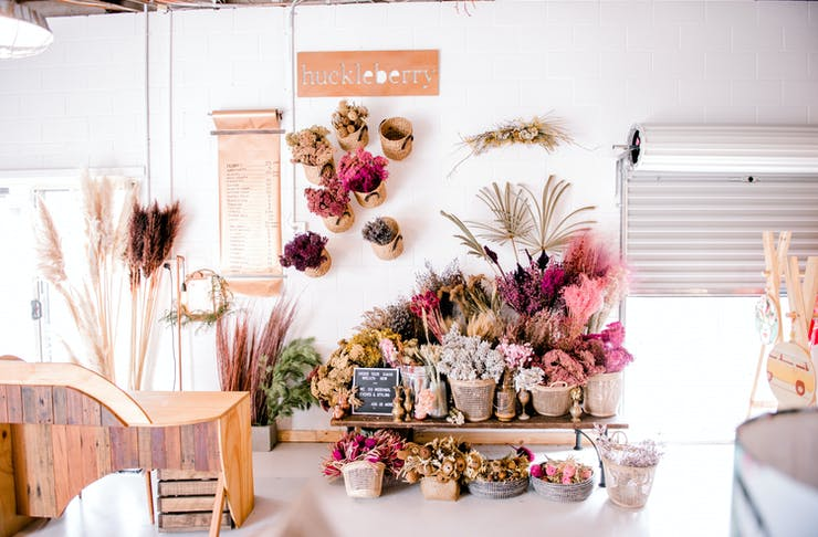 The beautiful and floral-filled interior of Heartfill, a sustainable boutique on the Gold Coast.