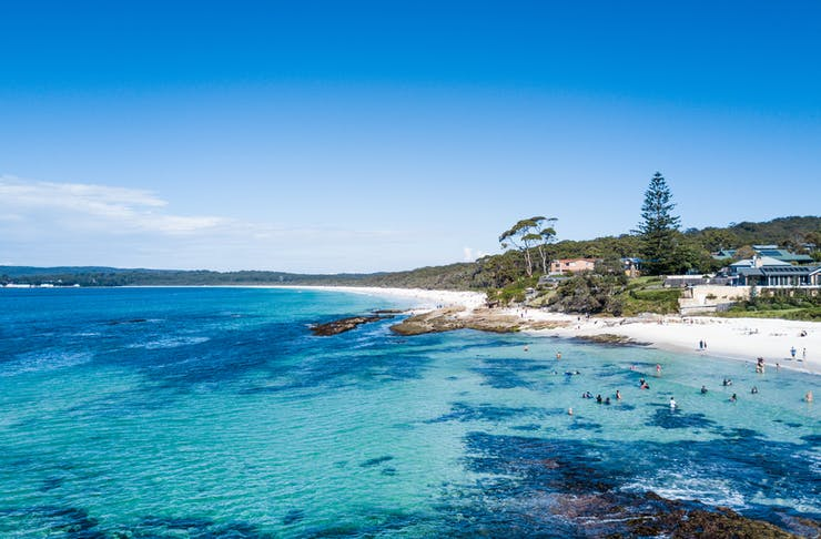 Crystal clear waters of Jervis Bay meet white sandy beaches.