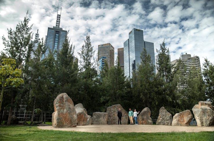 Melburnians walking the Aboriginal Heritage Walk near the Melbourne CBD.