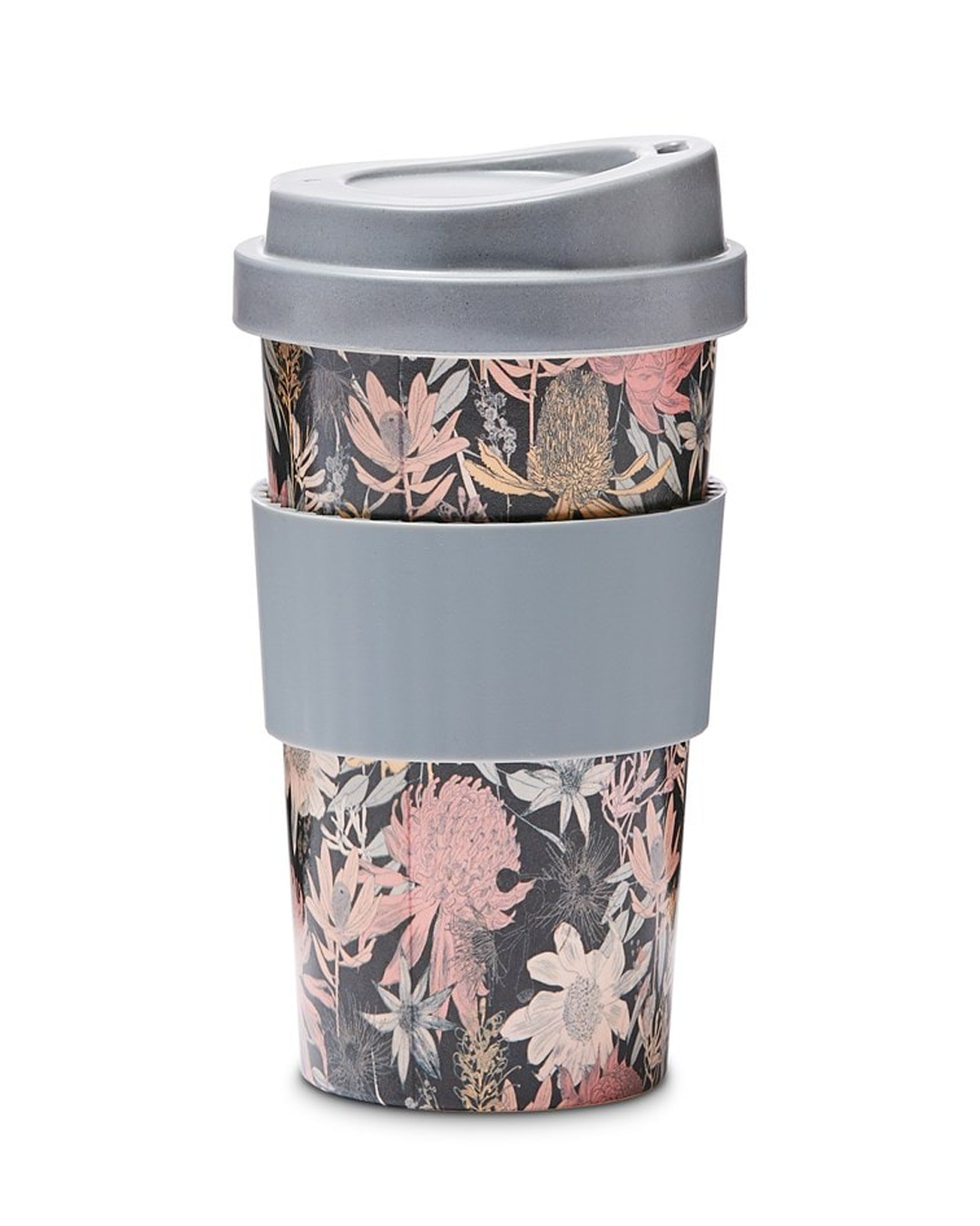 A blue and purple reusable coffee cup with patterns of flowers.
