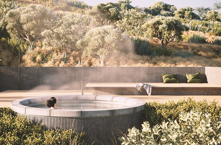 A render of a woman in an outdoor thermal spring.