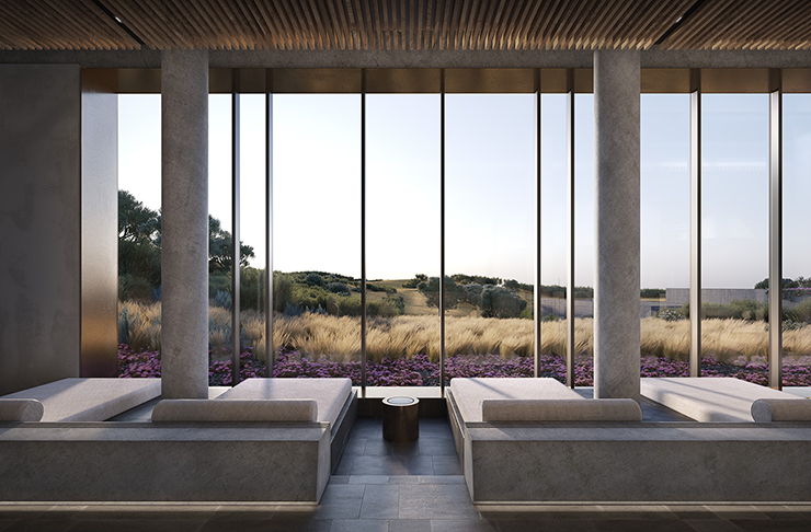 A render of a large concrete building with floor-to-ceiling windows.