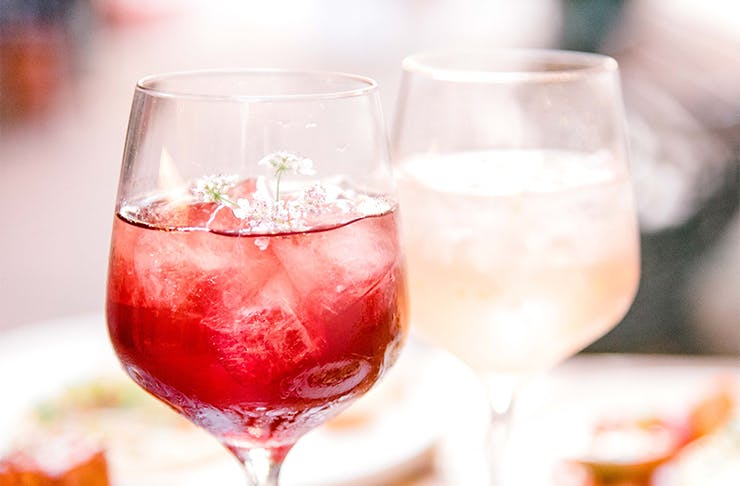 a red and a white cocktail