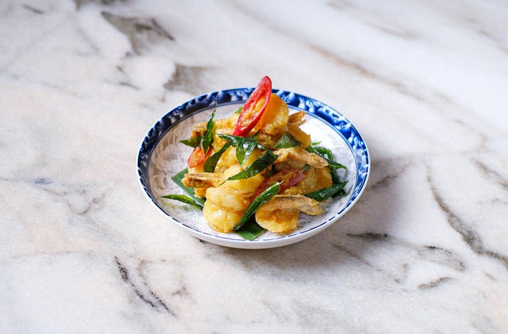 salted duck egg prawn dish