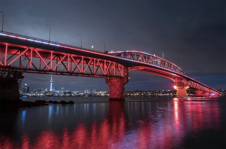 Anzac lights on the harbour bridge.
