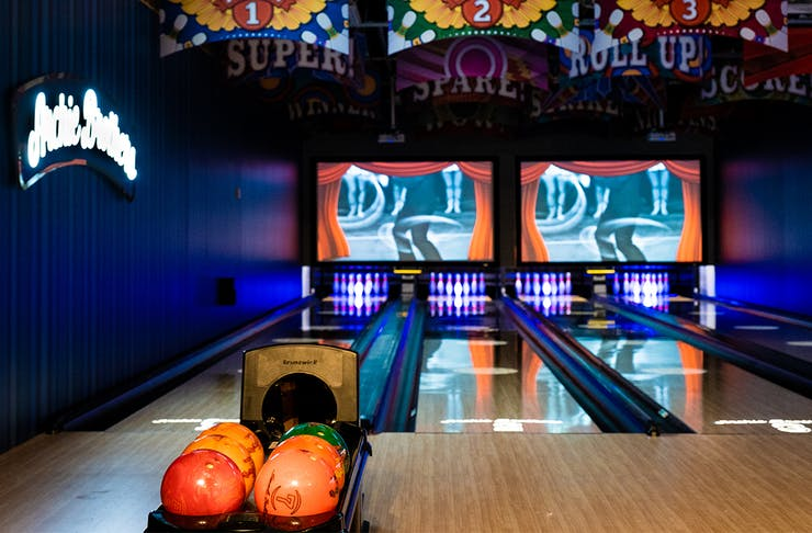 a colourful bowling alley