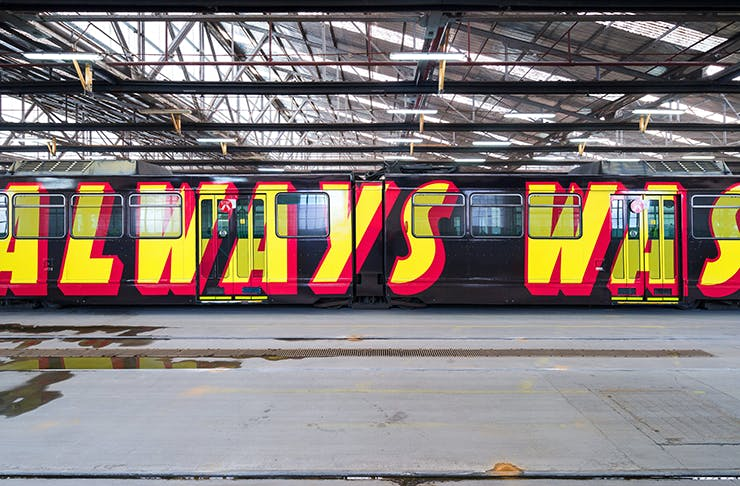 A tram with the words