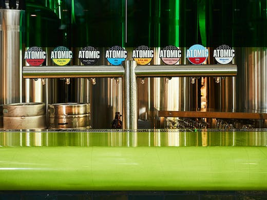 The beer taps at Atomic Beer Project in Sydney.