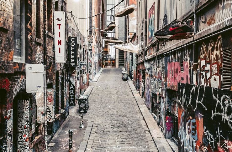 Popular Melbourne tourist destination, Hosier Lane, empty.