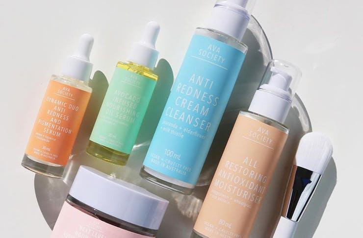 Bottles from the Ava Society skincare range.