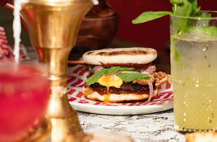 A lamb burger from Avi's Kantini.