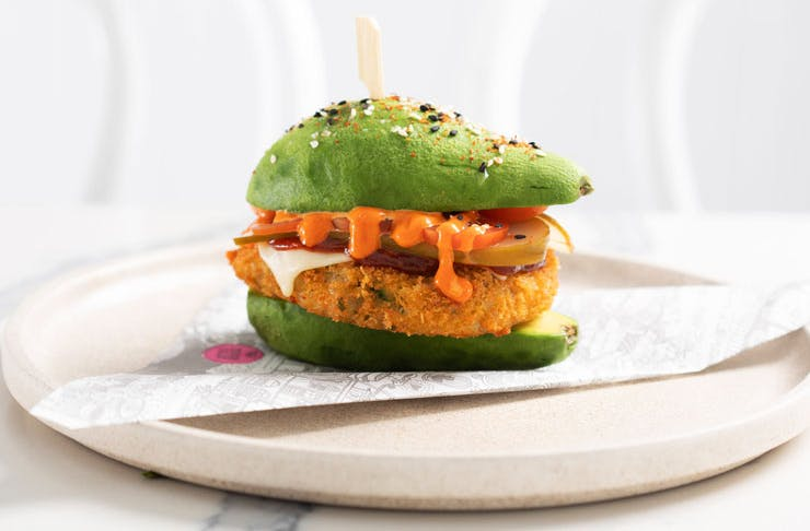 An avocado burger