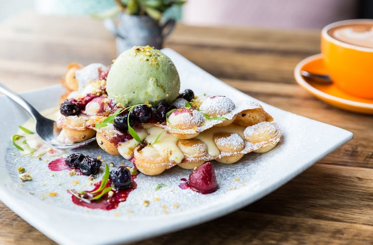 baba_sus waffles green tea icecream