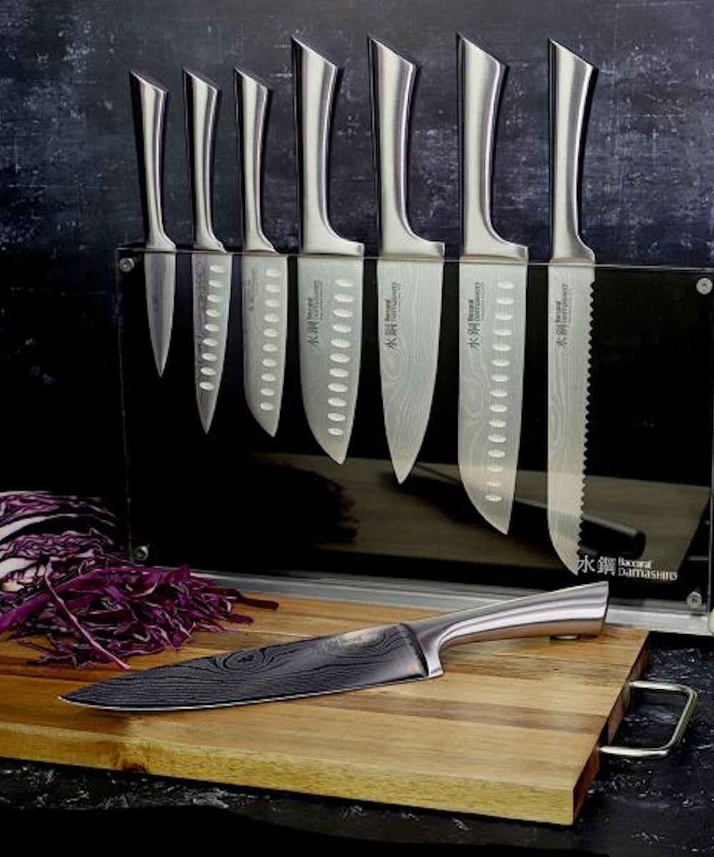 the ten piece Baccarat Damashiro Knife Block