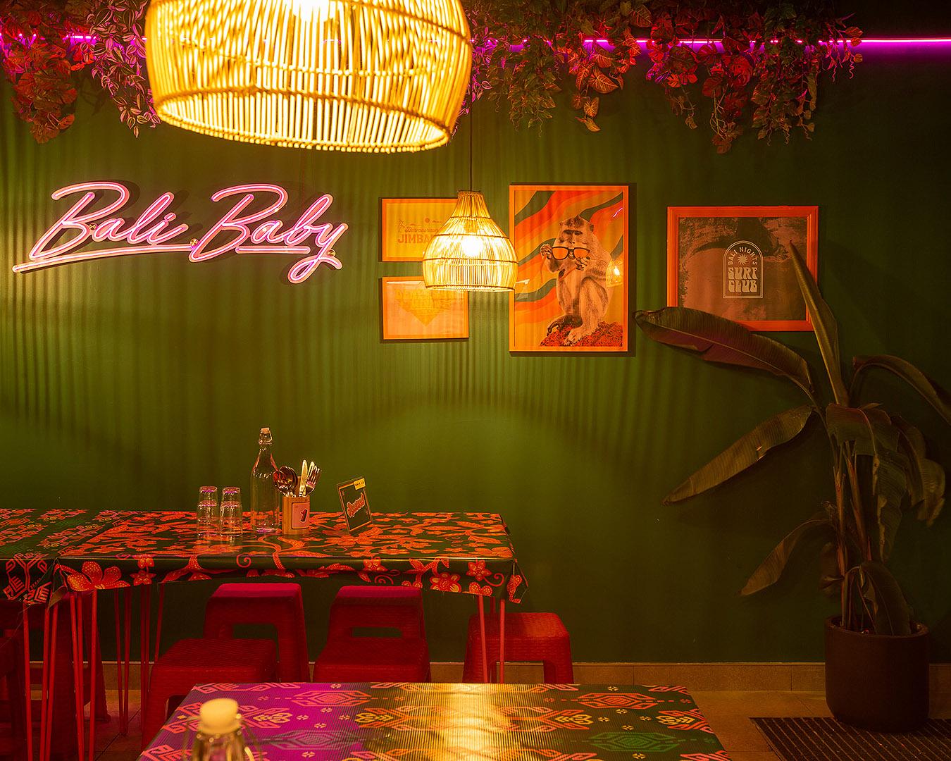 The neon-lit interior at Bali Nights.
