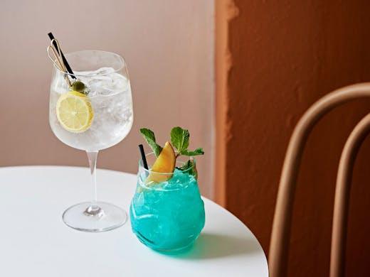 A blue Mai Tai and gin cocktail from Bar Nina.