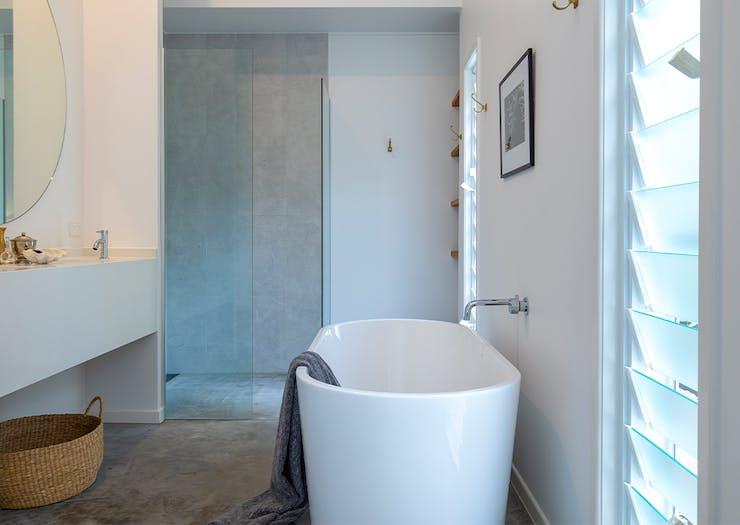 a bathroom with a large bath