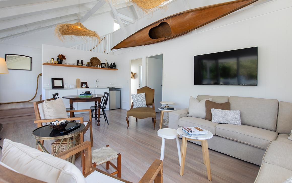 a coastal-themed lounge room