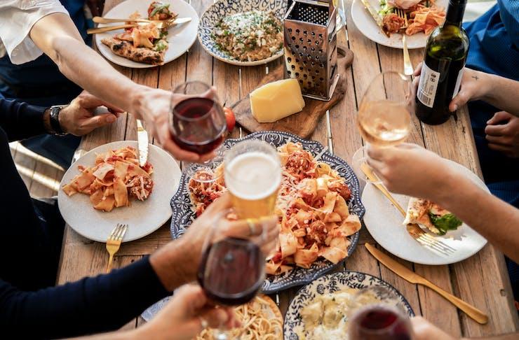 An Italian feast shared between friends.