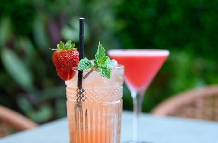 two pink cocktails