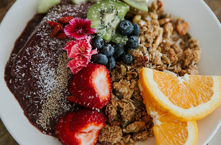 A close-up of an acai bowl from Greenhouse Cafe on the Sunshine Coast.