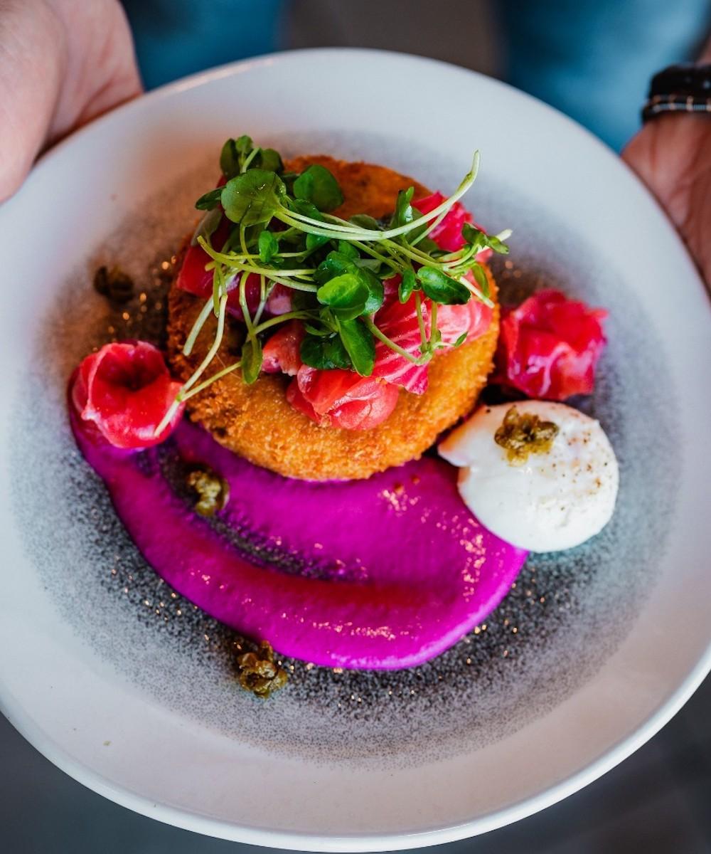 salmon dish at Lupolab