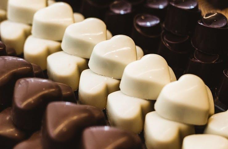 Heart shaped chocolates in milk, white, and dark chocolate from Koko Black.