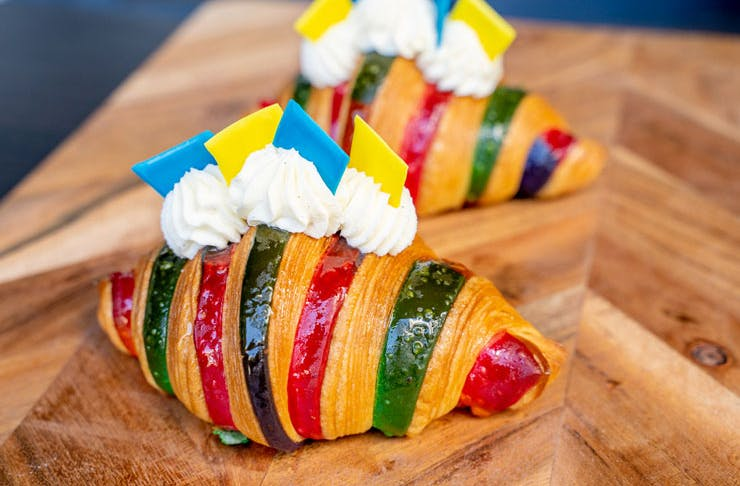 A rainbow striped Golden Gaytime-flavoured croissant.