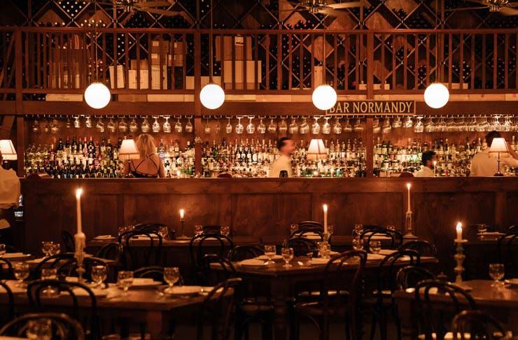 The dining room at Restaurant Hubert in Sydney.
