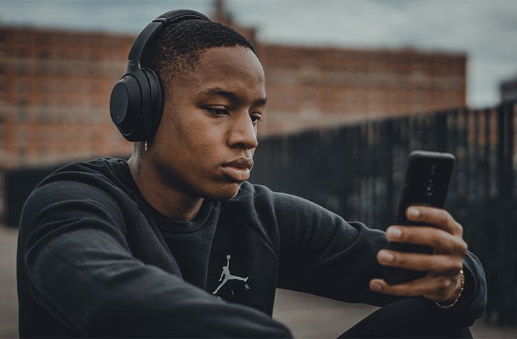 a man wearing headphones