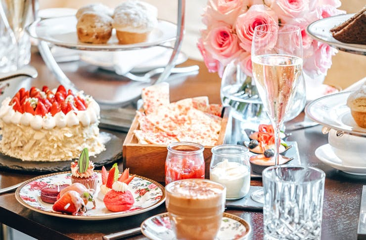A high tea table setting at The Langham Hotel in Sydney.