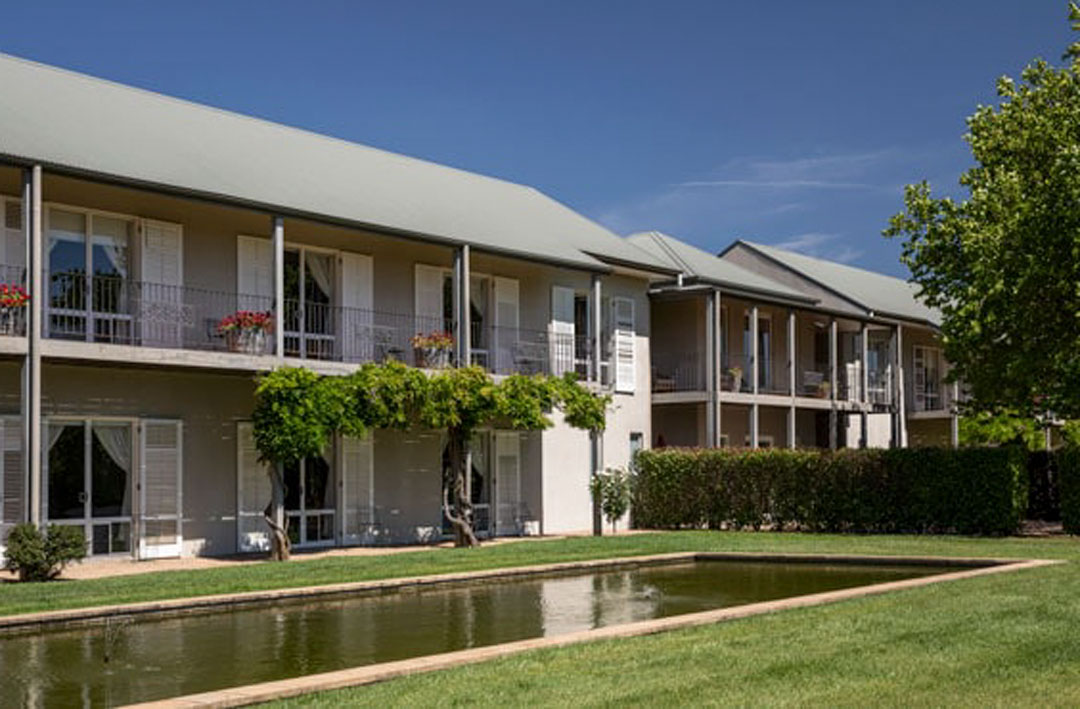 External view of Lancemore Milawa, a hotel set right near Victoria's amazing King Valley.