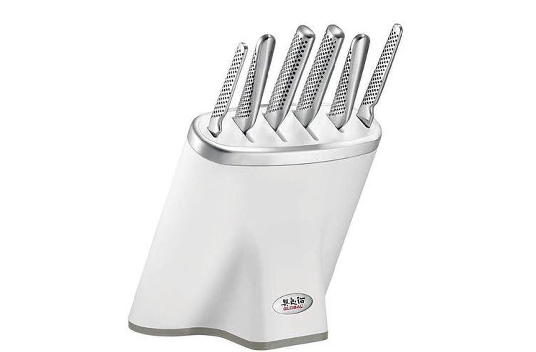 A Global knives Zeitaku 7-piece knife block set.