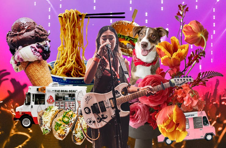 collage showcasing popular market foods and activities