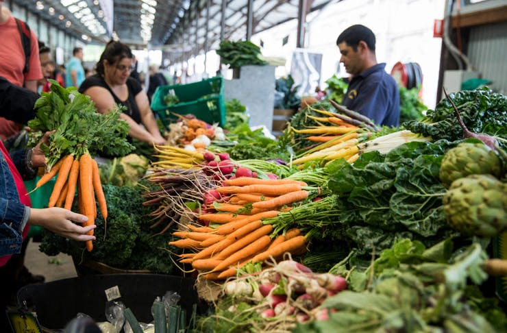 Organic produce at Carriageworks Farmers Market in Sydney.