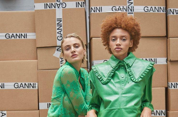 Models wearing Ganni pre-fall 2021