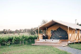 A glamping tent on the Nashdale Lane vineyard in Orange, NSW.