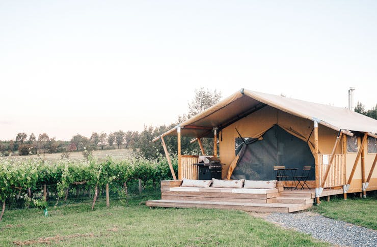 A glamping tent on the Nashdale Lane vineyard in Orange, NSW.