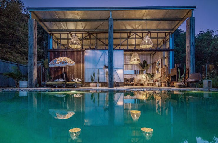The pool at Blackbird in the Byron Bay Hinterland.